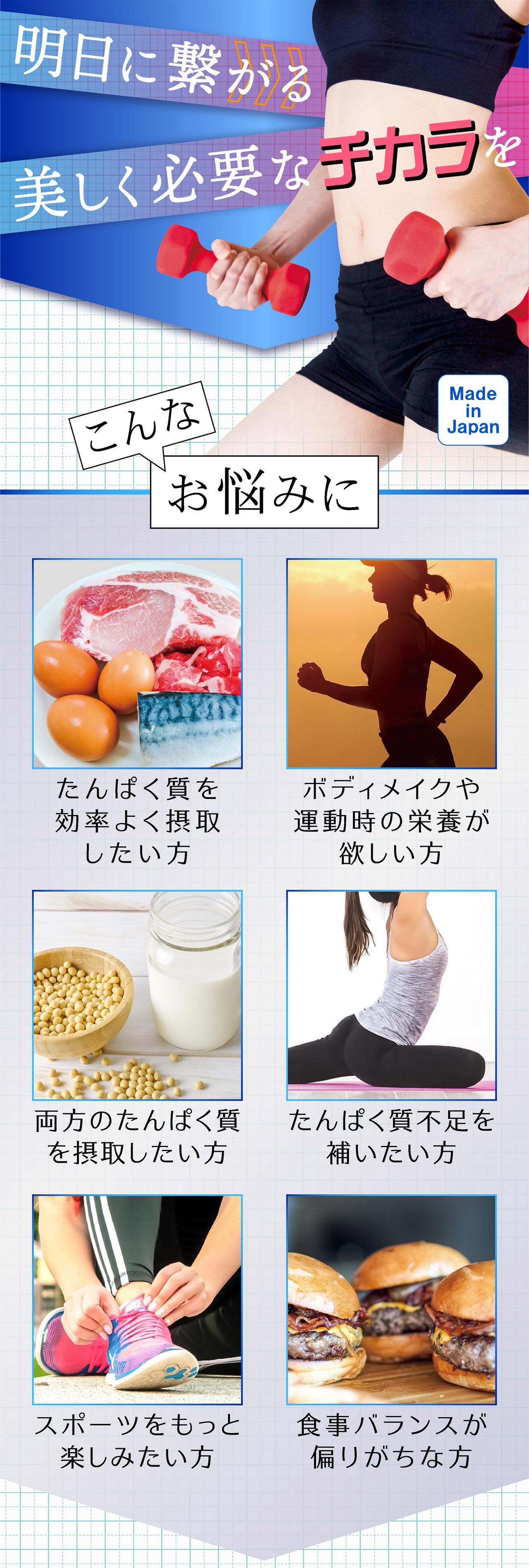 明日に繋がる 美しく必要なチカラを Made in Japan 日本製 こんな お悩みに たんぱく質を効率よく摂取したい方 両方のたんぱく質を摂取したい方 ボディメイクや運動時の栄養が欲しい方 たんぱく質不足を補いたい方 スポーツをもっと楽しみたい方 食事バランスが偏りがちな方