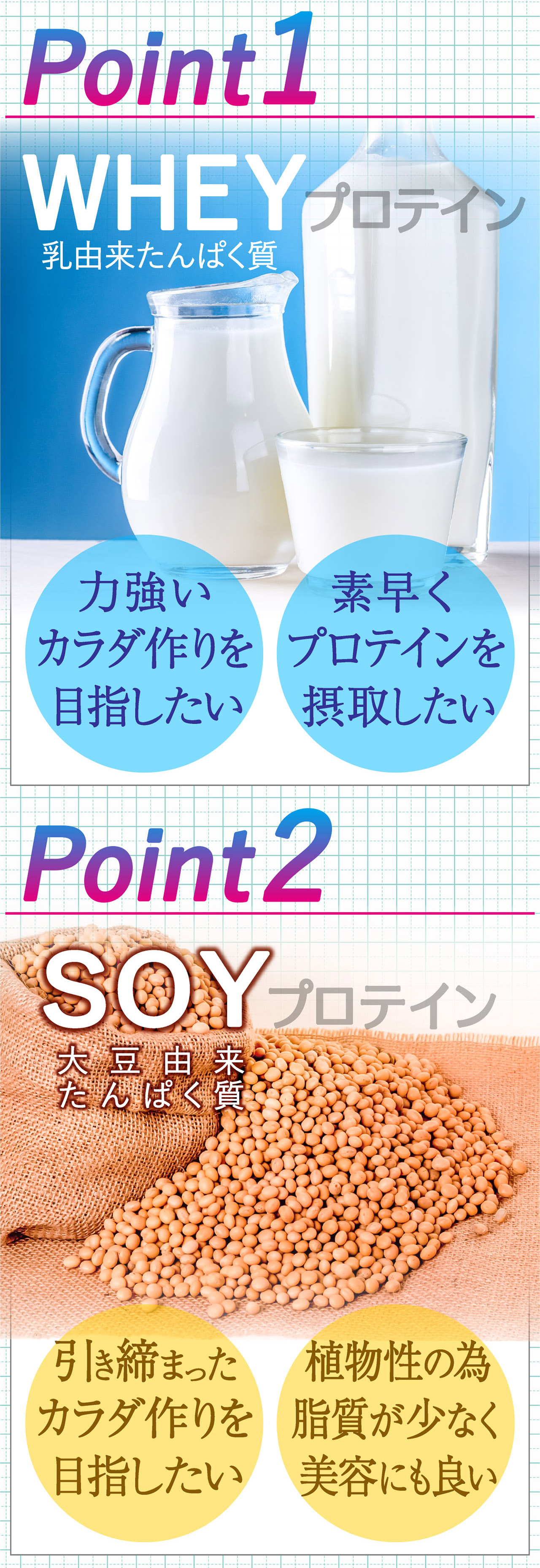 Point1 WHEY プロテイン 乳由来たんぱく質 力強いカラダ作りを 目指したい 素早く プロテインを摂取したい Point2 SOY プロテイン 大豆由来たんぱく質 引き締まった カラダ作りを 目指したい 植物性の為 脂質が少なく 美容にも良い